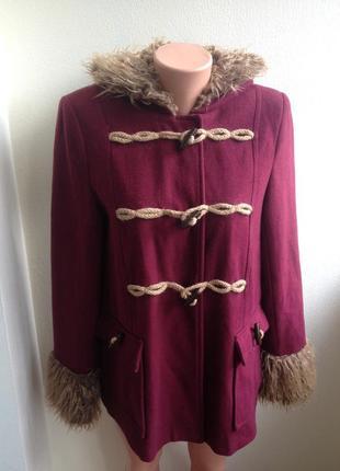 Шерстяное пальто дафлкот от atmosphere  цвет марсала