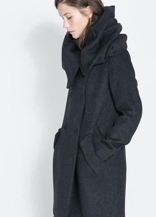 Пальто zara с воротником - капюшоном