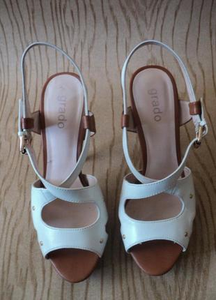 Босоножки grado кожаные высоком каблуке белые коричневые кожа удобные4