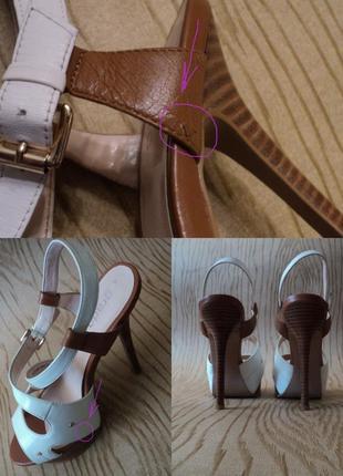 Босоножки grado кожаные высоком каблуке белые коричневые кожа удобные5