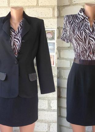 Костюм деловой классический с юбкой карандаш черный пиджак черный