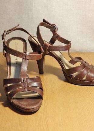 Женские туфли босоножки натуральная кожа 40 размер кожанные коричневые