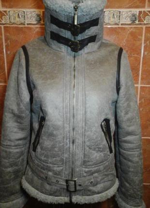 Искусственная короткая дубленка меховая куртка