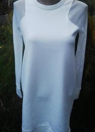 Стильный удлиненный свитшот с сеточкой от зара(по типу неопрена)