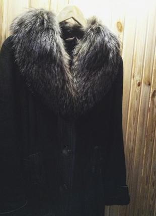 Дубленка с козлика, ворот - чернобурка