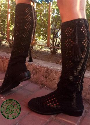 Обувь летние, весенние,  осенние вязаные женские  сапоги ручная работа цвет черный