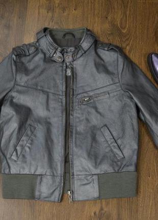 Кожаная куртка new look серебристый-металлик