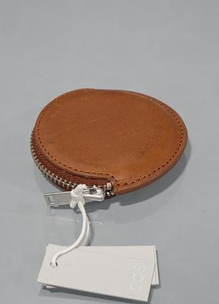Кожаный коричневый кошелек для мелочи cos
