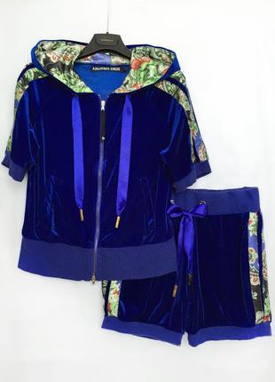 Костюм с шортами велюр атлас авторский бренд d.simachev 46-48 италия