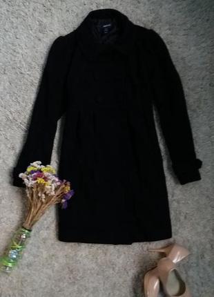 Черное кашемировое теплое осенне пальто