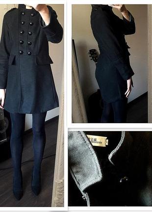 Кашемировое черное классическое пальто от mango