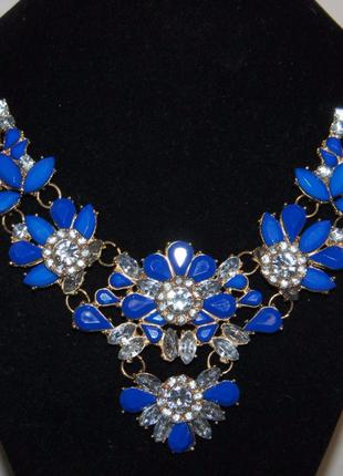 Колье ожерелье синее