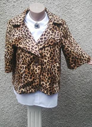Меховый жакет(пиджак) шубка короткий мех, mango,леопардовый принт