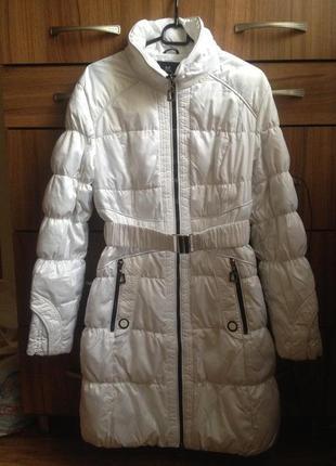 Белоснежное зимнее длинное пальто