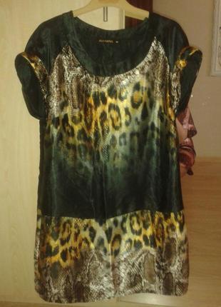 Шикарное платье леопард искусственный шелк