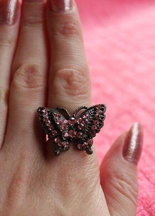 Кольцо бабочка с розовыми стразами bobijou