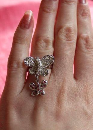 Кольцо бабочки с розовыми и белыми стразами bobijou