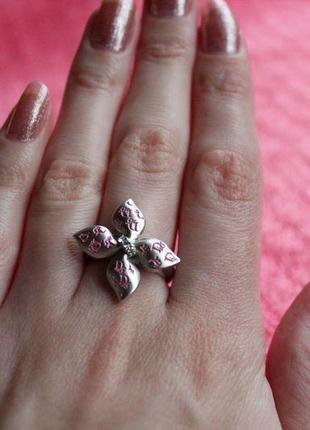 Кольцо цветок со стразами и эмалью bobijou