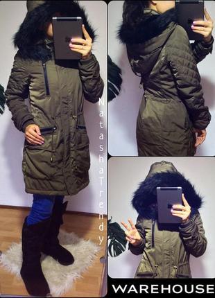 Куртка с большим капюшоном чёрный мех удлинённая осень холодная осень warehouse