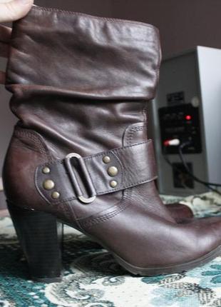 Сапожки asos на каблуке, коричневые