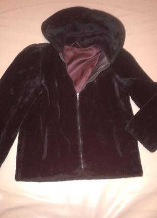 Черная искусственная меховая куртка-шубка, под мутоновую  р. 36