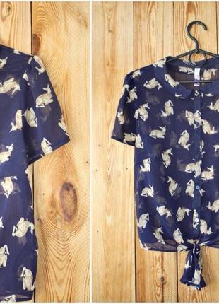 Рубашка укороченная с оленями