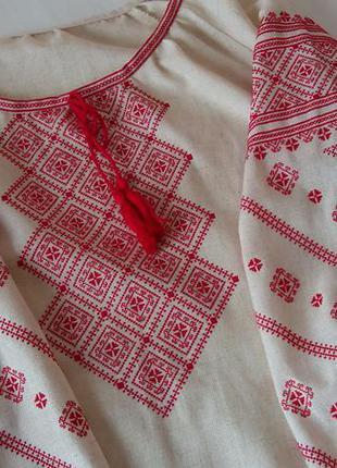 Новая бежевая льняная вышиванка, ручная вышивка, блуза, сорочка, рубашка, лён