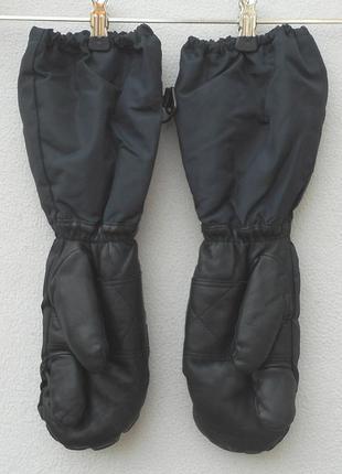 Кожаные варежки перчатки меховые рукавицы зимние