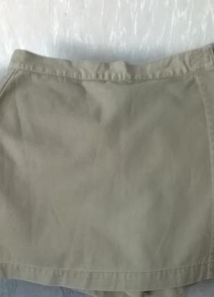 Удобные коттоновые шорты-юбка цвета хаки