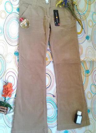 Штаны брюки вельветовые коттоновые расклешенные бежевые коричневые клеш теплые плотные