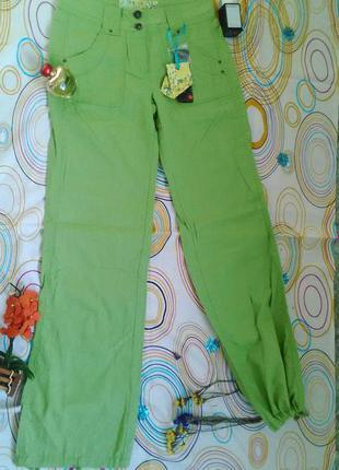 Штаны брюки коттоновые льняные зеленые салатовые чиносы широкие