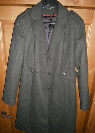 Пальто oversize в стиле милитари приятное на ощупь (о скидке - в описании)