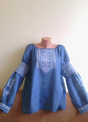 Стильная  вышиванка (машинная вышивка) материал натуральный лен под джинс