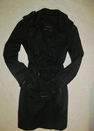 Черный  классический базовый плащ-пальто