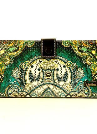 Кошелек женский кожаный velina fabbiano 1051 - зеленый принт, расцветки в наличии
