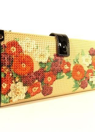 Кошелек женский кожаный velina fabbiano 1051 - бежевый, цветочный принт, расцветки в наличии