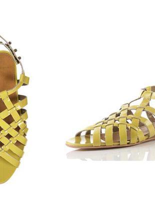 Шикарные кожаные босоножки сандалии topshop 40р широкая стопа