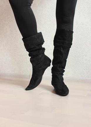 Замшевые сапоги, несколько вариантов носки, натуральная замша