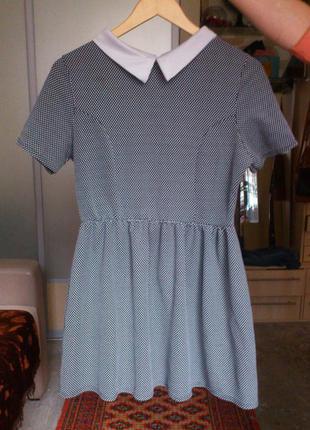 Шикарное фактурное платье с воротником, фактурное платье new look