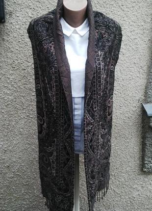 Большой двухсторонний, двойной шарф(горохи + орнамент) с бахромой,англия оригинал