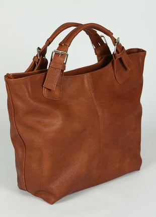 Коричневая женская матовая сумка-шоппер