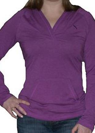 Базовая фиолетовая футболка с длинным рукавом и капюшоном