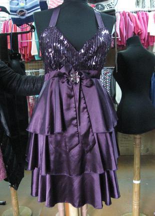 Платье коктейльное фиолетовое rosa&rose(франция)