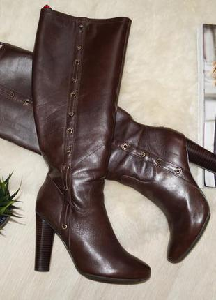 (37р.) tommy hilfiger! кожа! шикарные высокие сапоги на каблуке
