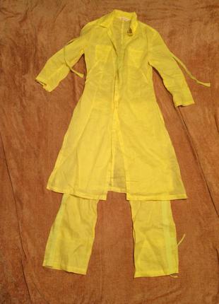 Льняной лимонный костюм от mango