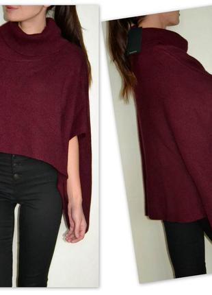 Ангоровый свитер-пончо sweewe цвета бургунди