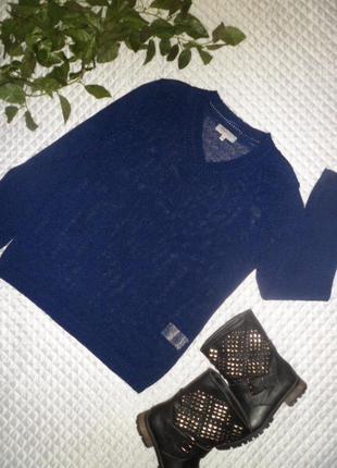 Синий джемперок с v-образным вырезом malva