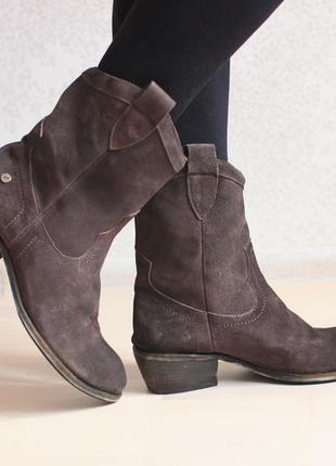 Замшевые ботинки полусапожки ковбойки, натуральная замша , daniel rechard