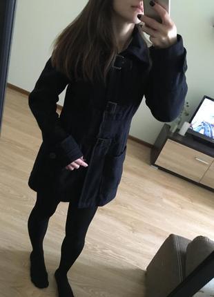 Пальто синее с капюшоном