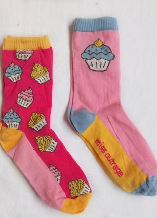 Комплект из двух хлопковых носочков в пироженку. женские. размер - 37-41.